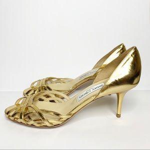 Jimmy Choo metallic gold strappy heels pumps Sz 7